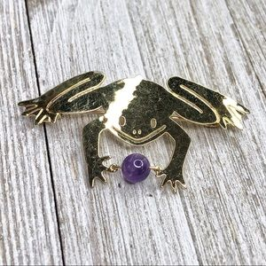 Wild Bryde Hammerer Gold Frog Amethyst Bead Pin